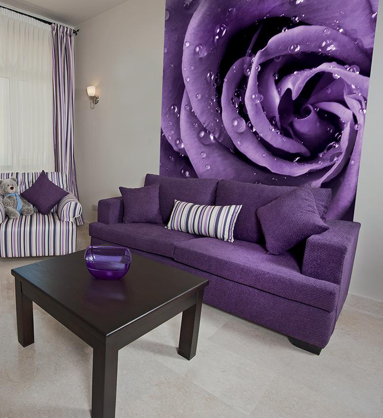что фото обоев для зала цвет фиолетовый камень подходит для